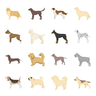 Hond cartoon vector icon set. vector illustratie dierlijke hond.