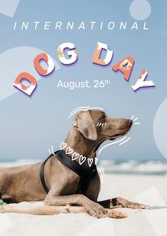 Hond dag poster sjabloon vector bewerkbare huisdier evenement met weimaraner
