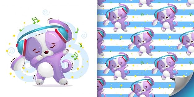 Hond danst naadloze patroon en illustratie