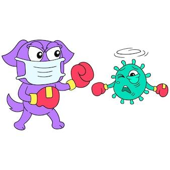 Hond die bokshandschoenen draagt die tegen covid-virus vechten, vectorillustratieart. doodle pictogram afbeelding kawaii.