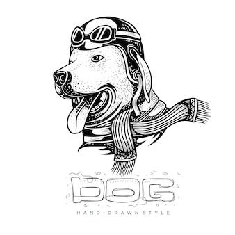 Hond die een helm draagt, hand getrokken dierlijke illustratie