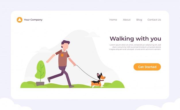 Hond die met je landingspagina wandelt