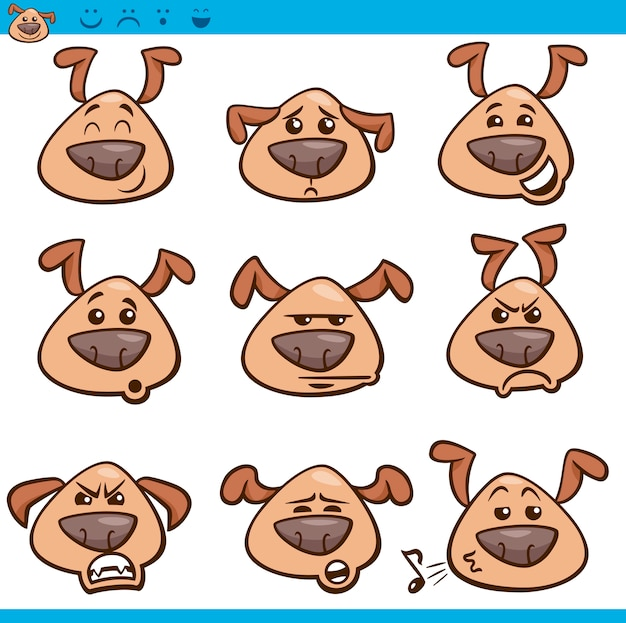 Hond emoticons cartoon afbeelding instellen