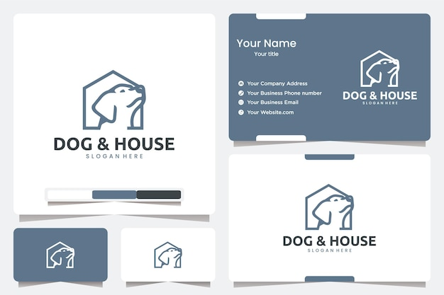 Hond en huis met lijntekeningen, inspiratie voor logo-ontwerp