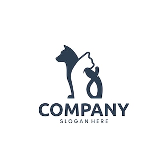 Hond en kat, dierlijk huisdier, inspiratie voor logo-ontwerp