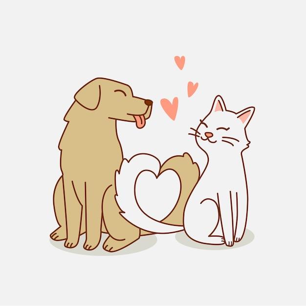 Hond en kat houden van elkaar illustratie