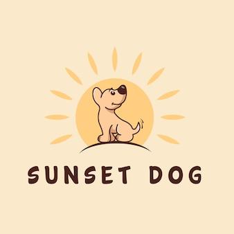 Hond en zonsondergang logo