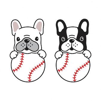 Hond frans bulldog honkbal