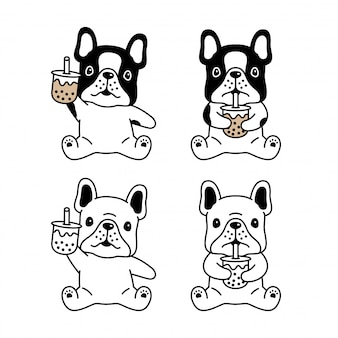 Hond franse bulldog boba melkthee