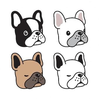 Hond franse bulldog cartoon