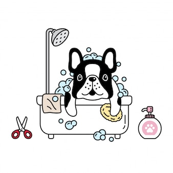 Hond franse bulldog douche badkamer cartoon