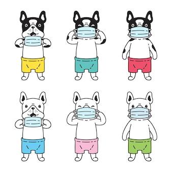 Hond franse bulldog gezichtsmasker cartoon