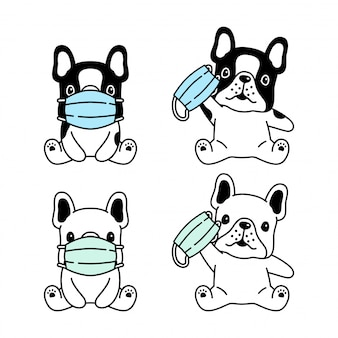 Hond franse bulldog gezichtsmasker coronavirus covid-19 cartoon