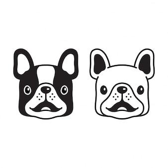 Hond franse bulldog glimlach cartoon