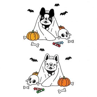 Hond franse bulldog halloween pompoen spook stripfiguur