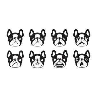 Hond franse bulldog hoofd gezicht huisdier cartoon