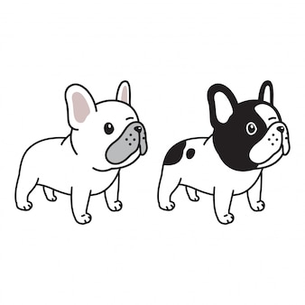Hond franse bulldog karakter cartoon doodle