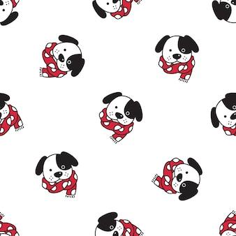 Hond franse bulldog naadloze patroon kerst kerstman sjaal