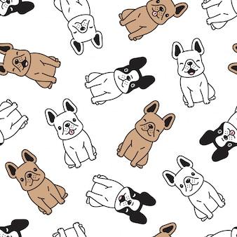 Hond franse bulldog naadloze patroon puppy