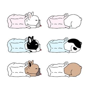 Hond franse bulldog plastic zak cartoon