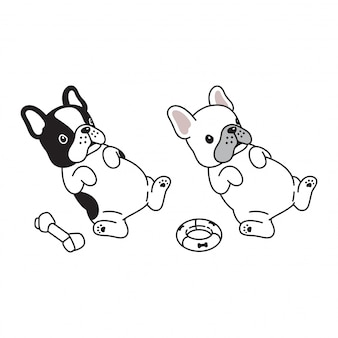 Hond franse bulldog puppy cartoon