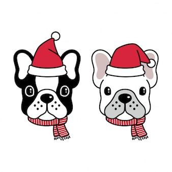 Hond franse bulldog santa claus draag muts en sjaal