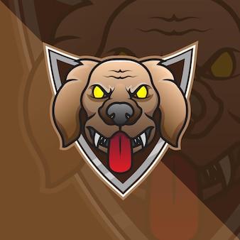 Hond head esport mascot logo voor esport gaming en sport premium gratis vector
