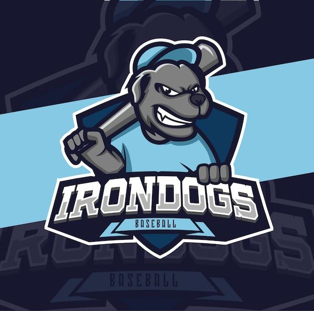 Hond honkbal mascotte logo ontwerp