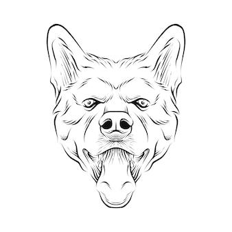 Hond hoofd hand getekende illustratie