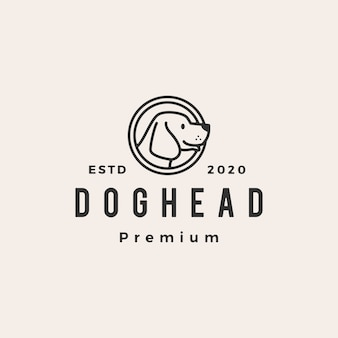 Hond hoofd hipster vintage logo pictogram illustratie