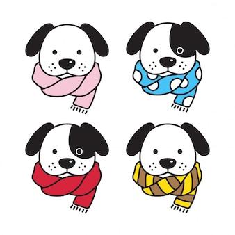 Hond hoofd puppy met sjaal cartoon