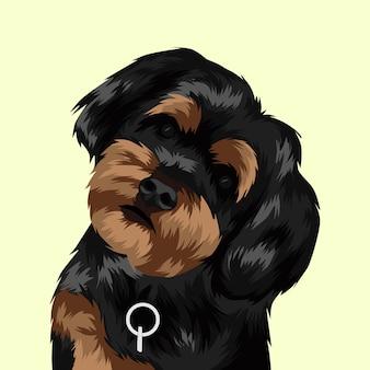 Hond hoofd zwarte en bruine vectorillustratie