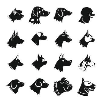 Hond icons set, eenvoudige stijl