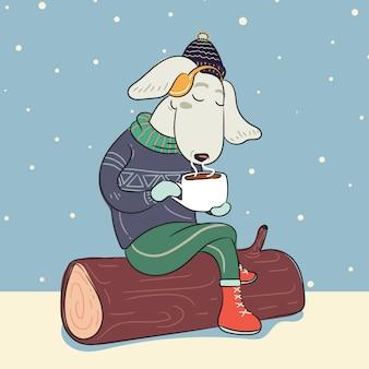 Hond in de winter warme trui en met een kop warme koffie