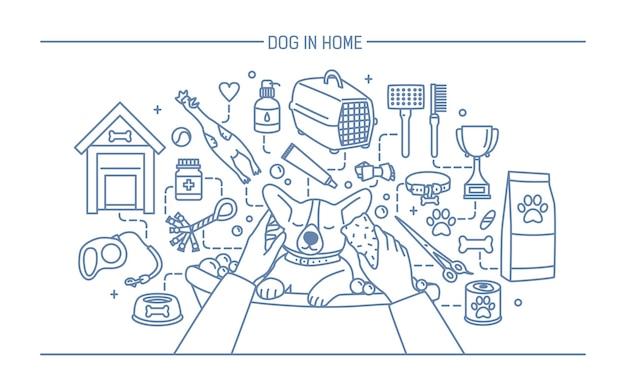 Hond in huiscontourbanner met huisdierenspeelgoed, medicijnen en puppymaaltijden.
