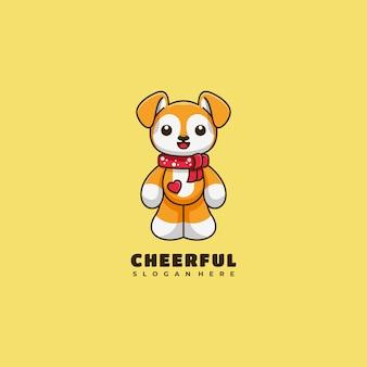 Hond karakter mascotte logo ontwerp vectorillustratie