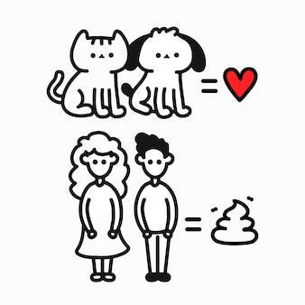 Hond, kat is liefde, mens is shit komische print. vector hand getekend cartoon karakter illustratie. geïsoleerd op een witte achtergrond. houd van katten en honden, haat mensen komische print voor kaart, t-shirt, posterconcept