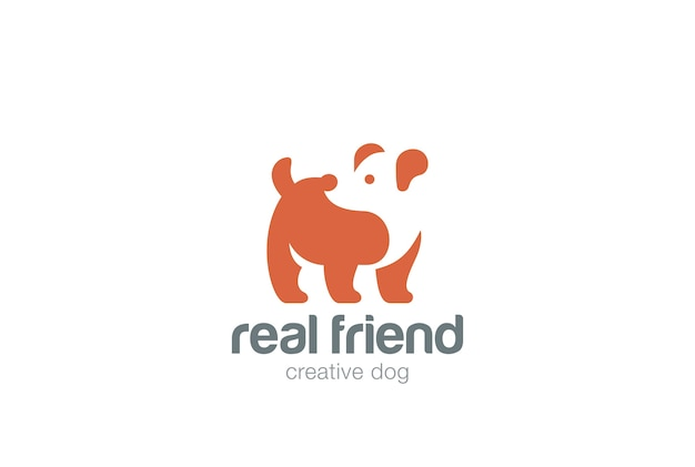 Hond logo pictogram. negatieve ruimtestijl.