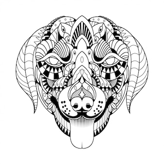 Hond mandala zentangle lineaire stijl