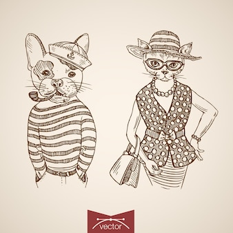 Hond matroos dame kat portret kleding accessoire dragen singlet portemonnee tabakspijp bril.