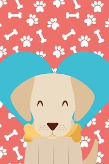 Hond met bot in mond poten liefde hart