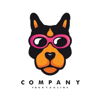 Hond met bril mascotte logo ontwerp illustratie vector
