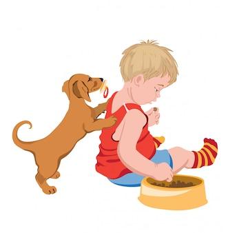 Hond met fopspeen in mond die met een jong geitje probeert te spelen dat zijn voedsel steelt