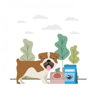 Hond met kom en voedsel voor huisdieren op landschap