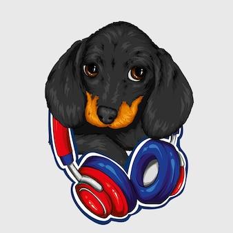 Hond met koptelefoon