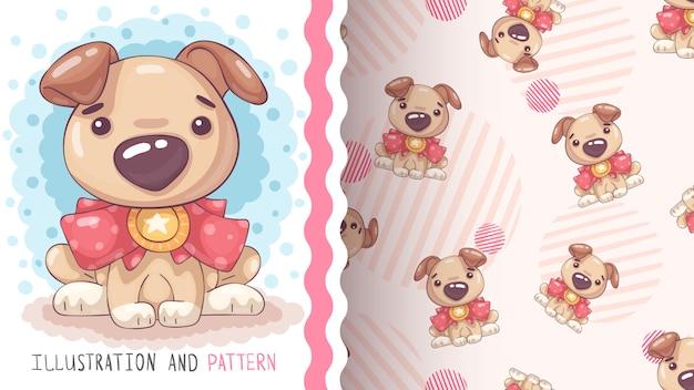 Hond met medaille - naadloos patroon