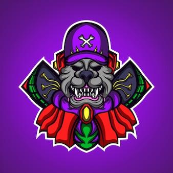 Hond monstrer gaming mascotte logo