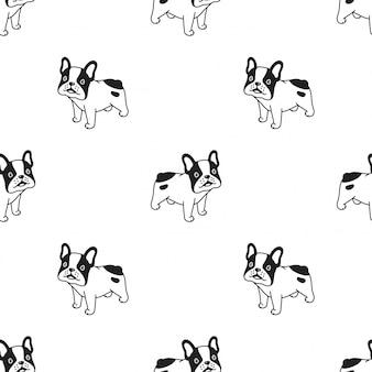 Hond naadloze patroon franch bulldog cartoon