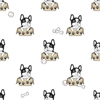 Hond naadloze patroon franch bulldog papier doos cartoon