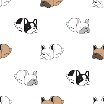 Hond naadloze patroon franch bulldog slapen cartoon